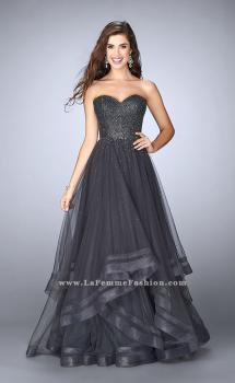Picture of: Beaded A-line Prom Dress with a Tiered Tulle Skirt in Silver, Style: 24517, Main Picture