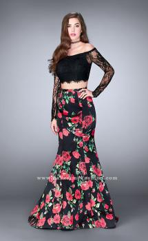 Picture of: Floral Long Sleeve Two Piece Mermaid Style Prom Dress in Print, Style: 24522, Main Picture