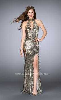 Picture of: High Neck Sequin Dress with a Keyhole and Open Back in Gold, Style: 24527, Main Picture