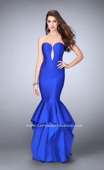 Picture of: Neoprene Prom Dress with Open Back and Tiered Skirt in Blue, Style: 24537, Main Picture