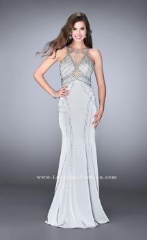 Picture of: Long Beaded Prom Dress with High Illusion Neckline in Silver, Style: 24557, Main Picture