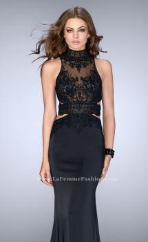 Picture of: High Neck Dress with Sheer Beaded Top and Belt in Black, Style: 24558, Main Picture