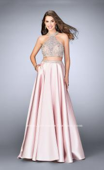 Picture of: Two Piece A-line Prom Gown with Full Satin Skirt in Pink, Style: 24563, Main Picture