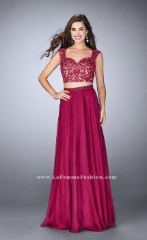 Picture of: Two Piece Chiffon Dress with Lace Top and Beaded Belt in Pink, Style: 24564, Main Picture