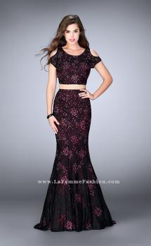 Picture of: Two Piece Cold Shoulder Lace Dress with Beading in Red, Style: 24583, Main Picture