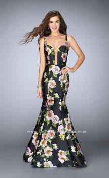Picture of: Floral Mikado Mermaid Gown with Rectangle Neckline, Style: 24589, Main Picture