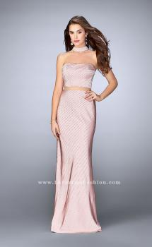 Picture of: Beaded Illusion Two Piece Dress with Attached Choker, Style: 24594, Main Picture