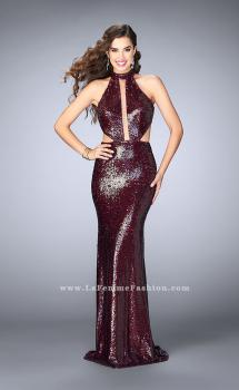 Picture of: Sequin Gown with Rectangle Neckline and Side Cut Outs in Red, Style: 24595, Main Picture