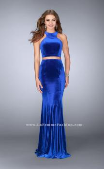 Picture of: Two Piece Velvet Dress with Key Hole Cut Out Back in Blue, Style: 24599, Main Picture