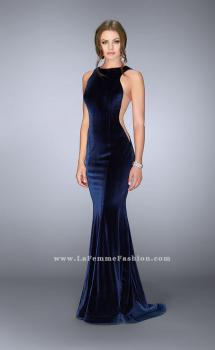Picture of: High Neck Velvet Gown with Sheer Sides and Open Back, Style: 24605, Main Picture