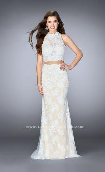 Picture of: Two Piece Lace Prom Dress with Flare Skirt in White, Style: 24615, Main Picture