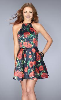 Picture of: Short Floral Mikado Dress with Strappy Back, Style: 24620, Main Picture