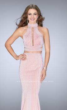 Picture of: Beaded Two Piece Dress with Side Cut Outs in Pink, Style: 24622, Main Picture