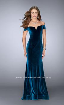 Picture of: Off the Shoulder Velvet Dress with Small V Neckline in Blue, Style: 24626, Main Picture