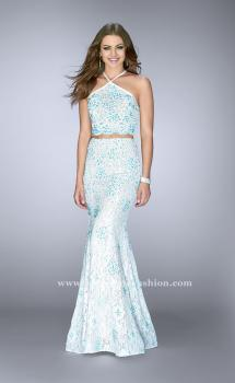 Picture of: High Neck Two Piece Dress with Colored Beading in Blue, Style: 24637, Main Picture