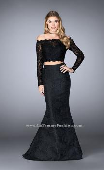 Picture of: Two Piece Lace Top Prom Dress with Mermaid Skirt in Black, Style: 24648, Main Picture
