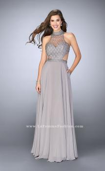 Picture of: Chiffon Gown with Beaded High Neck and Side Cut Outs, Style: 24649, Main Picture