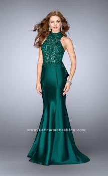 Picture of: High Neck Sheer Lace Dress with Ruffle Back Skirt in Green, Style: 24651, Main Picture