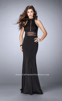 Picture of: Jersey Dress with Sheer Beaded Back and Waist in Black, Style: 24654, Main Picture