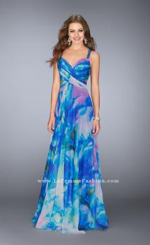 Picture of: Gathered Print Chiffon Gown with Beaded Straps in Print, Style: 24668, Main Picture