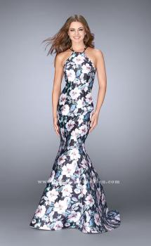 Picture of: Flower Print Mermaid Mikado Dress with Strappy Back, Style: 24673, Main Picture