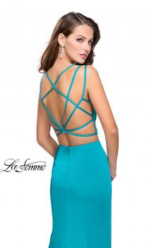 Picture of: Two Piece Jersey Prom Dress with Strappy Back, Style: 25553, Main Picture