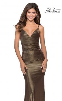 Picture of: Metallic Dress with Draped Neckline and Ruching in Black Gold, Style: 28913, Main Picture