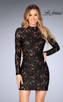Picture of: Short Lace Homecoming Dress with Open Back in Black, Style: 25024, Main Picture