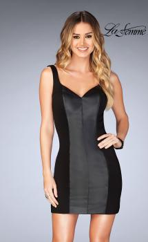 Picture of: Short Leather Homecoming Dress with Jersey Panels, Style: 25050, Main Picture