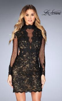 Picture of: Short Lace Dress with Sheer Scalloped Neckline in Black, Style: 25121, Main Picture