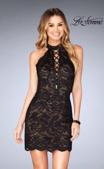 Picture of: Deep V Criss Cross Dress with Tight Lace Skirt in Black, Style: 25130, Main Picture