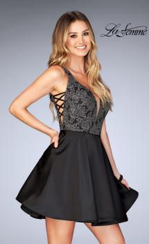 Picture of: Short Satin Homecoming Dress with Cut Outs, Style: 25132, Main Picture
