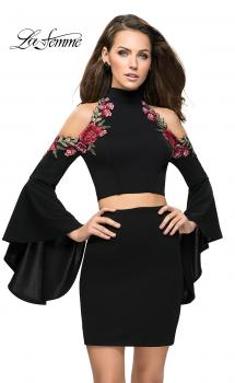 Picture of: Floral Two Piece Jersey Mini Bell Sleeve Dress, Style: 26606, Main Picture