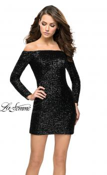 Picture of: Long Sleeve Sequined Off the Shoulder Homecoming Dress in Black, Style: 26662, Main Picture