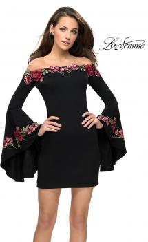 Picture of: Off the Shoulder Mini Dress with Dramatic Bell Sleeves in Black, Style: 26674, Main Picture