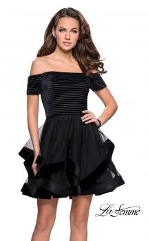 Picture of: Tulle Short Off the Shoulder Dress with Velvet Trim in Black, Style: 26751, Main Picture