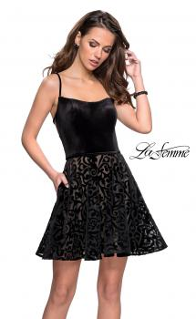 Picture of: Short Burnout Velvet Homecoming Dress with Pockets in Black, Style: 26785, Main Picture