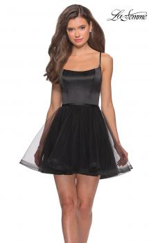 Picture of: Short Tulle Homecoming Dress with Scoop Neck in Black, Style: 28156, Main Picture