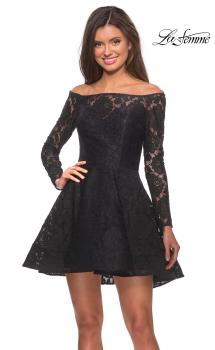Picture of: Short Lace Dress with Off The Shoulder Long Sleeves, Style: 28175, Main Picture
