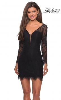 Picture of: Lace Dress with Sheer Sleeves and Scalloped Hem in Black, Style: 28233, Main Picture