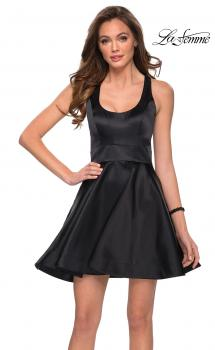 Picture of: Fit and Flare Dress with Scoop Neck and Cut Out Back in Black, Style: 29303, Main Picture