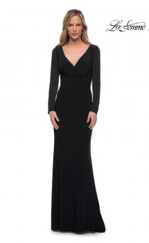 Picture of: Long Sleeve Jersey Evening Dress with Ruching in Black, Main Picture