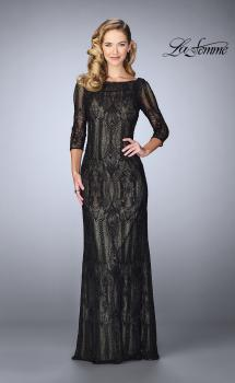 Picture of: Long Lace Gown With Intricate Pattern in Black, Style: 24855, Main Picture