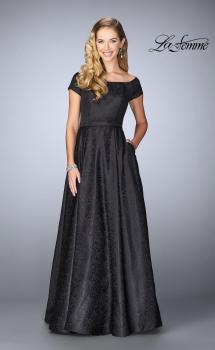 Picture of: Off The Shoulder Jacquard Gown With Small Sleeves in Black, Style: 24859, Main Picture