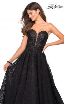 Picture of: A Line Lace Strapless Ball Gown in Black Nude, Style: 27284, Main Picture