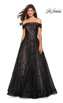 Picture of: sequin Ball Gown with Off the Shoulder Top in Black Nude, Style: 27577, Main Picture