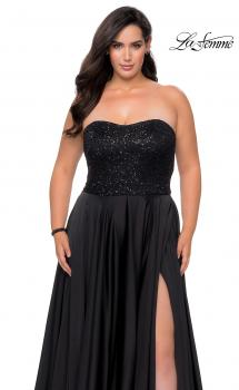Picture of: Strapless Plus Size Prom Dress with Sequin Bodice in Black, Style: 28741, Main Picture