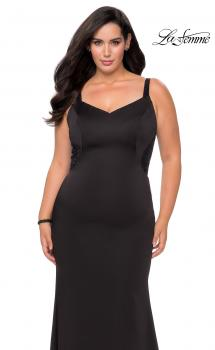 Picture of: Floor Length Black Jersey Plus Size Prom Dress in Black, Style: 28964, Main Picture