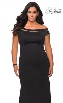 Picture of: Off The Shoulder Plus Size Gown with Sheer Neckline Detail in Black, Style: 29049, Main Picture