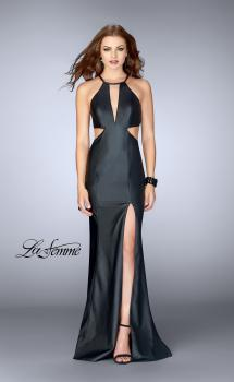 Picture of: Vegan Leather Dress with Side Cut Outs and High Slit in Black, Style: 24739, Main Picture
